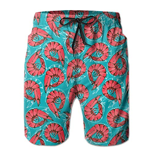 YongColer Men's Shrimp Seafood Short Swim Trunks Best Board Shorts for Sports Running Swimming Beach Surfing Quick Dry Breathable Bathing Suits Beach Holiday Party Swim Shorts (L)