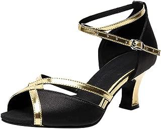 YOcheerful Women's Dance Shoes Latin Salsa Performance Dance Shoes Ballroom Dance Shoes High Heels Black