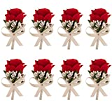 4/8/14 Pcs Rose Boutonnieres Groom Flower for Wedding Party Prom Man Suit Decoration