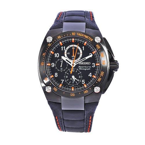 Seiko SNAE37 Sportura Black Dial Men's Chronograph Tachymeter Leather Watch