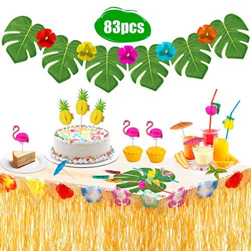 EXTSUD Hawaii Tischröcke 276cm Lange Hawaii Luau Tischrock Tischdeko Party Deko Tischdecke für Hawaii Tiki Bar BBQ Tropischen Garten Strand Sommer Tiki Party Geburtstag Dekoration MEHRWEG (Size 2)