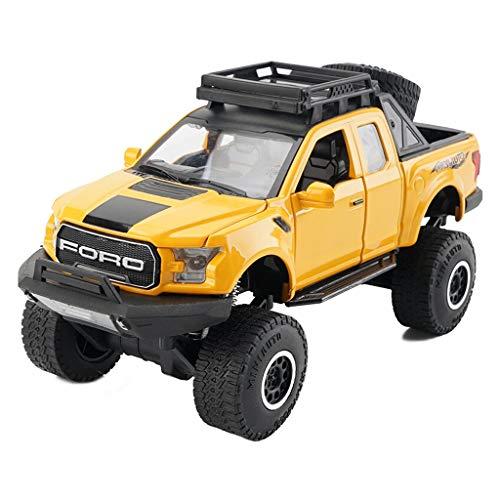 CHGDFQ For Ford F150 Pickup Versión de Ruedas Grandes modificadas de Modelo de Coche de Juguete para niños Adornos - Modelo de aleación de simulación de Coche (Color : Yellow)
