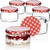 COM-FOUR® 6x Tarros de cristal con tapón de rosca a cuadros en rojo/blanco - Potes de cristal pequeños para conservas o mermelada, Ø 82mm, 250 ml