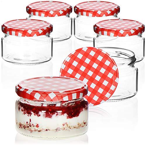 COM-FOUR® 6x Tarros de cristal con tapón de rosca a cuadros en rojo/blanco - Potes de...