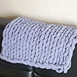 shuyazi Hand-Knitted Chenille Throw Grey 20 x 20 in, Chunky Knit Blanket Soft Blankets and Throws for Bedroom Sofa Couch Decor