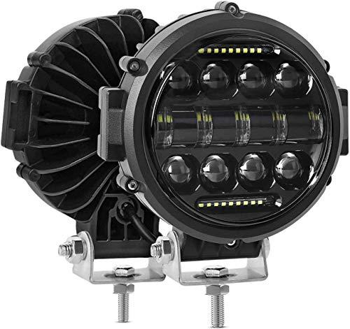 AAIWA Runde Scheinwerfer, Zusatzscheinwerfer-Kombinationsscheinwerfer Flood Spot 60W mit Tagfahrlicht, 2 STÜCKE Fernlicht für SUV ATV UTV