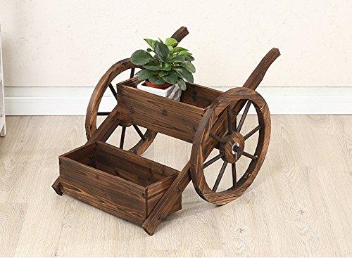QFF Revêtement de sol en bois, cadre sculpté en fleurs, balcon, étagère décorative en bois, étagère à deux roues
