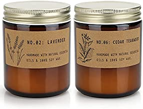 Scented Aromatherapy Candles for Home, Long Lasting Jar Soy Candles, Candles for Relaxation, Gifts Set for Women Friends, Lavender & Cedar Teakwood