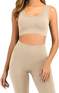 HAODIAN Women's Ribbed Workout Sets Soft Seamless Yoga Outfits 2 Piece