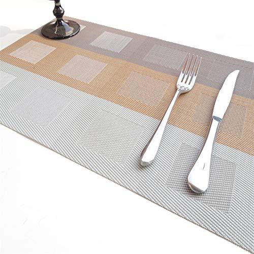 ZZHU Tapis de Table résistant à la Chaleur Durable, Isolant rectangulaire, 6 pièces, Brun