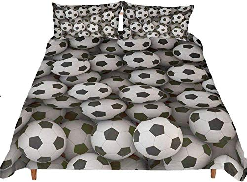 Yooseso Kids Duvet Cover Super King 260 X 230 Cm Sports Black White Football Pattern Pattern 3D Print Duvet Cover Luxury Comfortable Soft Breathable Fashion Quilt Cover (With 2 Pillowcases 50X75Cm)