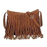 1pc borsa a spalla con nappa borsa in pelle con nappa borsa a tracolla borsa a tracolla con frange donna (marrone chiaro)