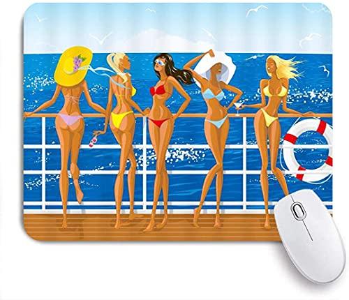 Tapis de souris, Sexy Girl Bikini Girl Yacht Bain de soleil Sea Breeze Lifeb Seabird Tropical Ocean Holiday Blue Brown, Tapis de souris Tapis de souris de jeu en caoutchouc antidérapant Tapis de souri