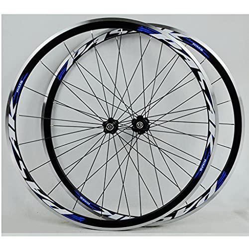 M-YN Rueda De Bicicleta De Carretera 700c, Aleación De Aluminio Qr Wheels V Brake Clincher, Doble Pared Spomas Planas Conjunto De Ruedas De Bicicleta, Rueda De Velocidades De 7-11 Trasera(Color:Azul)