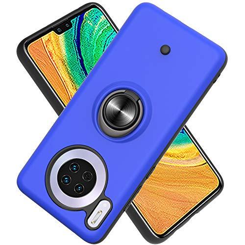 Hülle für Huawei Mate 30 mit Standfunktion, Dekomprimierungsknopf, Rotationsgyroskop, PC + TPU Handyhülle Stossfest Case -Navy blau