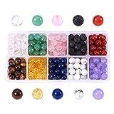 nbeads 250-300 Pcs Multicolore 8mm Pierres Précieuses Perles Perles Rondes Charmes pour La Fabrication de Bijoux DIY