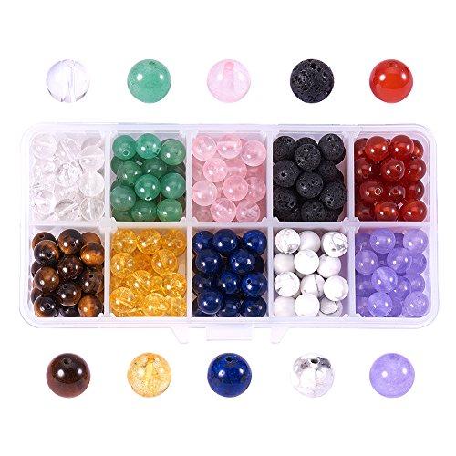 NBEADS 250-300 Pezzi Perline di Pietra per Gioielli, 10 Stili 8mm Perline di Pietre Preziose Multicolori Rotonde per Fai da Te Collana Braccialetto Orecchino Fare