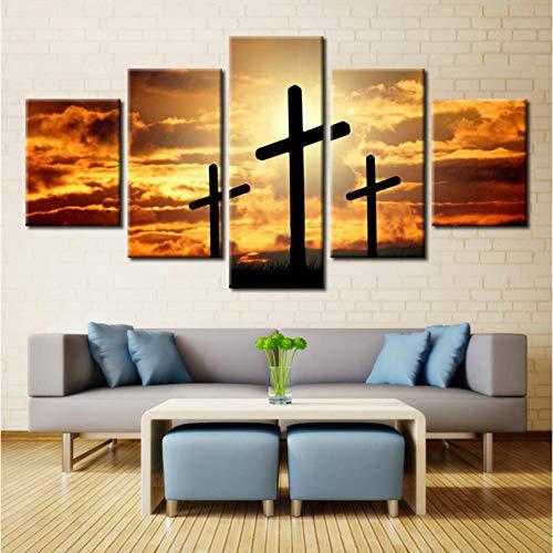 wangjingjing1 kruis zonsondergang landschap muurkunst voor hoofddecoraties olieverfschilderij druk op canvas 5 stuks modulaire hoogwaardige afbeeldingen geheel 40X60/80/100CM Met frame.