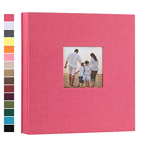 potricher Linen Hardcover Photo Album 4x6 1000 Photos Large Capacity for Family Wedding Anniversary Baby Vacation (Rose Red, 1000 Pockets)