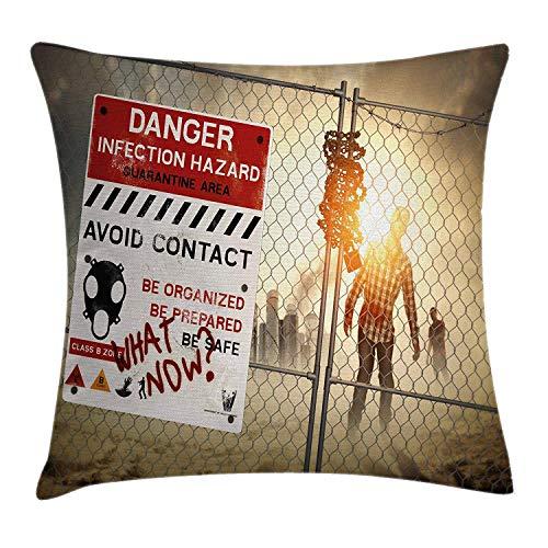 "LXJ-CQ Zombie Dekokissen Kissenbezug, Dead Man Walking in Dark Danger Gruselszene Fiktion Halloween-Infektion Bild 18\""X 18\"", Red Sepia"