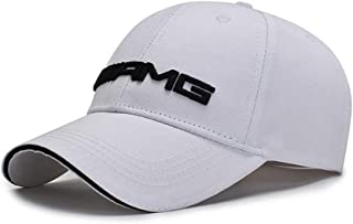 DIY1234 Car Logo Adjustable Baseball Cap, Unisex Hat Travel Cap Car Racing Motor Hat for AMG (White)
