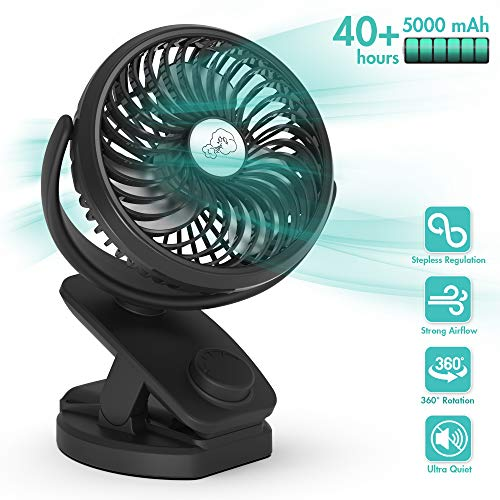 Stroller Fan Clip on Portable Fan - COMLIFE F150 Small Desk Fan with Rechargeable 5000 mAh Battery Powered Fan, Stepless Speeds, Aroma Diffuser & Powerbank Function for Hurricane, Camping, Office, Travel