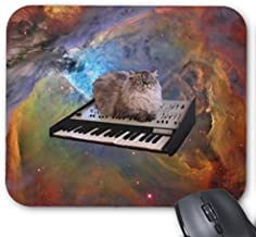 Rectangle Gaming Mousepad Galaxy Kitty Cat in Space on Synth Mouse Pad