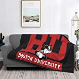 Pilling Resistant Flannel Deluxe Boston University Blanket Printed Blankets Super Soft Comfort for All Seasons Available in Three Sizes
