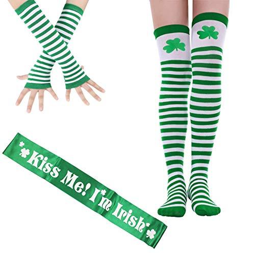 St. Patrick's Day Overknee Socken, St. Patrick's Day Handschuh, Kiss Me I'm Irish, gestreifte Strümpfe, Oberschenkelhohe Kleeblatt-Socken für St. Patrick's Day Partyzubehör, Party-Kostüm-Zubehör