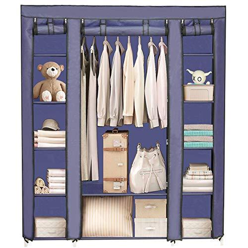 Dainty Kleiderschrank Stoffschrank Faltschrank mit Kleiderstange Hängender Großer Schrank Stoff Stabil mit Reißverschluß 143 x 172 x 43 cm Navy Blau