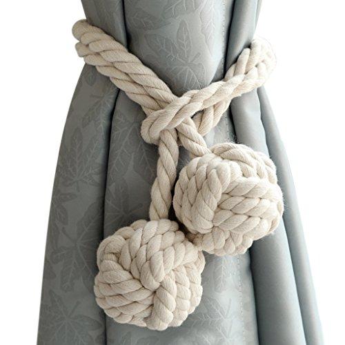Sumnacon 2 Embrasses à Rideaux avec 2 Boules en Coton, Corde écologique Tricot Rideau en Fil de Coton, Naturel et Simple Style, Décoration pour la Salle ou Chambre (Beige)
