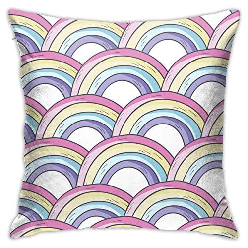Hangdachang Throw Pillow Case 45cm x 45cm Rainbow Drawing Pillowcase,Square Throw Covers,Decorative Cushion for Sofa Couch Car