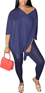 Aro Lora Womens Lounge Set 2 Piece Sports Outfits Slit Loose T Shirt and Bodycon Pant