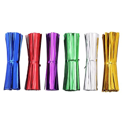 AIRSUNNY 600 pcs 4'' Metallic Twist Ties - 6 Colors red, blue, green, gold, silver and pink