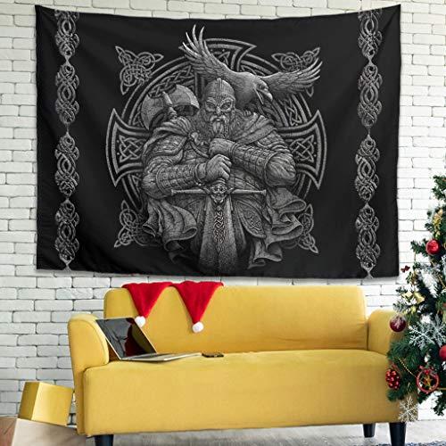 Grau Nordisch Wikinger Odin Krieger Axt Schwert Rabe Kreuzknoten Tattoo Wandbehang Tapisserie Böhmisch Gobelin Psychedelisch Wanddekor Raumteiler Party Hintergrund Dekoration white 230x150cm