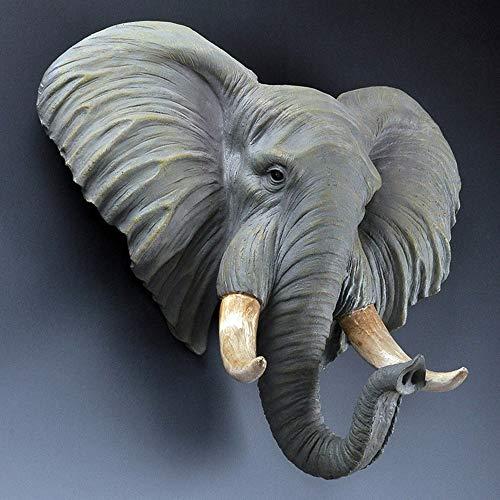 DAMAI STORE Resina Creativa Elefante Cabeza Decoración De La Pared/Home/Hotel/Club De La Ropa Joyería/Artesanía 41 * 13.5 * 42cm (Color : Gray)