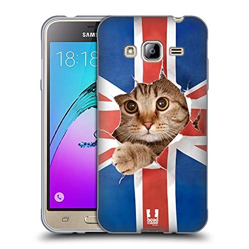 Head Case Designs Gatto Che Sbircia Union Jack Animali Divertenti Cover in Morbido Gel Compatibile con Samsung Galaxy J3
