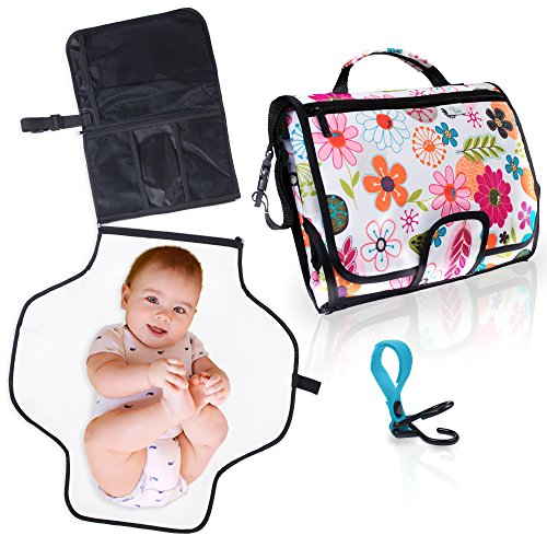 Travel Changing Pad for Baby. Easily Change Diapers on the Go! Portable Changing Station, Clutch Bag w/Waterproof Mat & Pockets for Accessories (diapers, wipes, cream). Bonus Stroller Hook. (Floral)