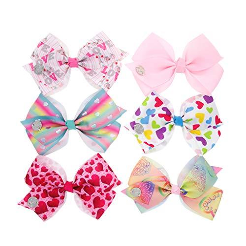BaoDan 6 pcs Kinder Mädchen Bow Print Haarspange Haarnadel Kopfbedeckungen...