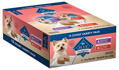 Blue Buffalo Delights Natural Adult Small Breed Wet Dog Food Cups Variety Pack, Filet Mignon Flavor in Savory Juice and Porterhouse Flavor in Savory Juice 3.5-oz (12 Pack- 6 of each flavor)