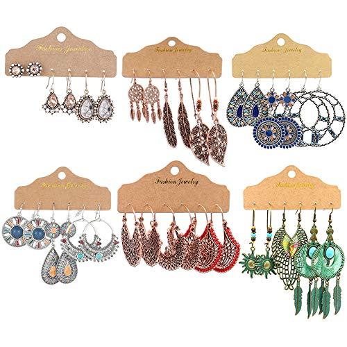 GOTONE 18 Paare Böhmische Ohrringe Vintage Retro Strass Dangle Drop Ohrring Boho Ohrringe für Frauen Mädchenbedarf