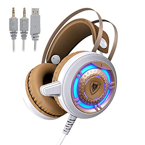 MOLINGXUAN Gaming Headsets, Gaming Headsets, PS4 Headsets, 7.1-Kanal RGB-Headsets, LED-Rauschunterdrückung und Lautstärke-Controlled Gaming Headsets für PC Laptops,A