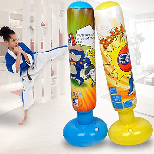 1,25 m aufblasbarer Boxsack, Cartoon-Motiv, aufblasbarer Boxturm für Kinder, Sandsäcke, Fitnesstraining, freistehend, Boxsack, blau