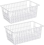 WEGAP Freezer Wire Storage Organizer Bin Baskets with Handles, Metal Wire Baskets Storage for Organizing Fridge, Closets, Pantry, Kitchen, Garage, Bathroom & More,Pack of 2