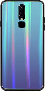Fantasydao Compatible with OnePlus 6 Case Gradient Colorful Laser Aurora Glass Back Cover + Soft TPU Bumper Frame Holographic Rainbow Bling Glitter Case for OnePlus 6(Blue)