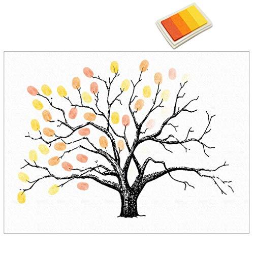 DGdolph Fingerabdrücke Malerei Party Gast Unterschrift Anmeldebuch DIY Tree Leinwand Gelb