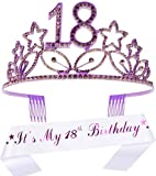 18th Birthday Gifts for Girl, 18th Birthday Tiara and Sash, HAPPY 18th Birthday Party Supplies, It's My 18th Birthday Sash and Tiara Birthday Crown for 18th Birthday Party Supplies and Decorations