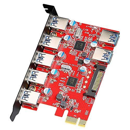 BXU-BG Tarjeta de expansión PCI-E USB USB 3.0 Tarjeta de expansión de 7 Puertos USB 3.0 Tarjeta de Puerto