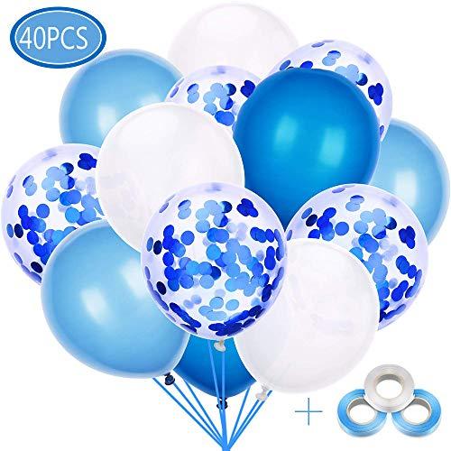 40 Pezzi Palloncini Azzurri, Palloncini di Coriandoli,Palloncini Bianchi,Party Balloon per Matrimonio, Compleanno, Baby Shower, Laurea, Cerimonia Party Decorazioni (12 Pollici)