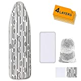 Ironing Board Cover and Pad Extra Thick Heavy Duty Padded 4 Layers Non Stick Scorch and Stain Resistant 15x54...